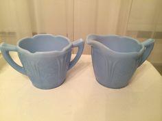 Vintage Jeanette Glass Company Blue Delphite Cherry Blossom Creamer and Sugar by VintageLove50 on Etsy