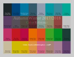 AW2017/2018 trend forecasting for Women, Men, Intimate, Sport Apparel - Color Reference  www.FashionWebGraphic.com