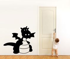 Vinyl Wall Decal Sticker Baby Dragon #OS_MG325 | Stickerbrand wall art decals, wall graphics and wall murals.
