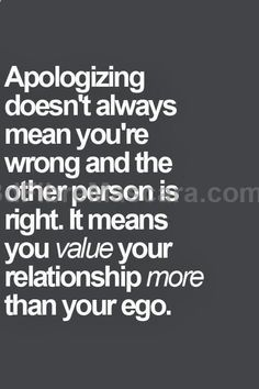 When your ego outweighs the value of the relationship, its telling. Because if you cant apologize to someone after youve hurt them you respect yourself TOO much... and them? Not enough. #expartner #love #relationship #lovesick #advice #romance #partner #breakup #rekindle #spark