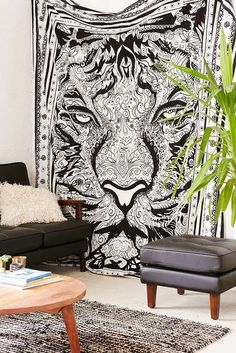 """Ethnic African Jungle Tiger Tapestry Queen Size 90"""" x 90"""" FREE 2 DAY SHIPPING! #African"""