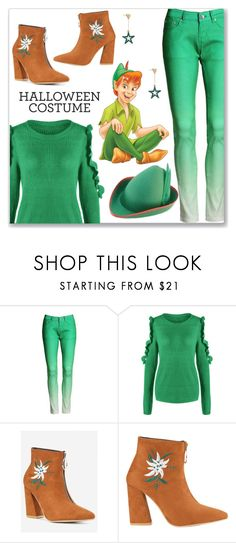 """""""Last Minute Costume:: Green Frill Cold Shoulder Sweater and Pants"""" by jecakns ❤ liked on Polyvore"""