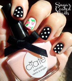 Ciaté- Strawberry milkshake  Sally Hansen- Black-Out Sally Hansen- White-Out Green nail art pens (generic) http://sugarcoatednails.tumblr.com