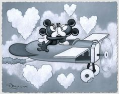 Disney Fine Art Love Flying High by Tim Rogerson Mickey Mouse Y Amigos, Mickey And Minnie Kissing, Mickey Love, Mickey Mouse And Friends, Mickey Minnie Mouse, Disney Mickey, Epic Mickey, Disney Princess Facts, Disney Fun Facts