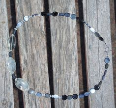 Black Gray Marbled Necklace with Clear Agate by ButtercupsWhatEvas