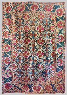 Bukhara Susani Silk embroidery on cotton dowry cover, ca. 1870, Uzbekistan.