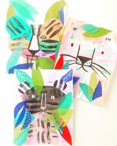 I love this!!!   Printmaking + Collage Jungle Cats — ART CAMP