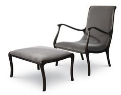 """Julian Chichester Mathias Chair & Ottoman Our new Mathias Chair and Ottoman is modern updated version of a Swedish original. Curve and comfort and available in any of our upholstery finishes.  Chair:  W26"""" x D31"""" x H35.5"""" Seat: H16"""" / Arm Height: H25"""" COM: 3 yards  Ottoman:  W26"""" x D21"""" x H15"""" COM: 1 yard"""