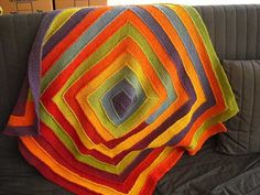 Rainbow Blanket variation of Ten Stitch Blanket by Frankie Brown free knitting pattern on Ravelry at http://www.ravelry.com/patterns/library/ten-stitch-blanket