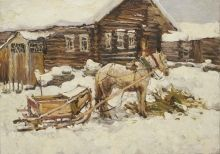 Russian Fine Art - Import and Export of Master Artist Paintings and Sculptures Sky Painting, Artist Painting, Sculptures, Fine Art, Landscape, Canvas, House Styles, Artwork, Snow