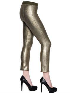 David Lerner Gold Coated Blended Jersey Leggings