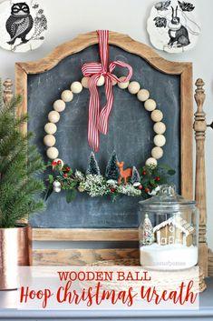 Wooden Ball Hoop Christmas Wreath Main - Nest of Posies Christmas Greenery, Christmas Jars, Christmas Time, Christmas Decorations, Christmas Ideas, Christmas Thoughts, Holiday Decorating, Holiday Ideas, Holiday Wreaths