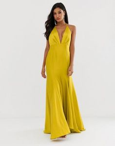 3ab41472a5f ASOS DESIGN maxi dress with halter neck and drape skirt detail in satin