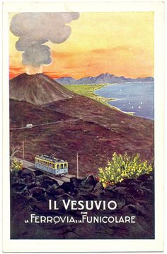Naples, Italy - View of Mount Vesuvius; Ferrovia Railways featuring its Funicolare - Vintage Travel Advertisement Art Print, Wall Decor Travel Poster) Vintage Italian Posters, Vintage Travel Posters, Train Posters, Photography Illustration, Advertising Poster, Beautiful Places To Visit, Costa, Italy Travel, Europe