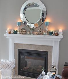 Mantel Decor Ideas : Blue, Taupe And White Palette. Decorating Fireplace ...