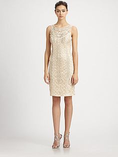 Sue Wong Embroidered Champagne Dress