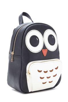 Owl Faux Leather Mini Backpack