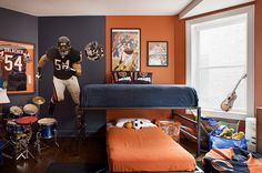 Sport Theme Boys Bedroom Ideas with Contrasting Color Paint