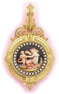 Art Nouveau Diamond, Enamel (by Richet) And Gold Pendant - Fontenay, Paris