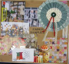 Mood board for fabric samples window display by Seasalt window team.