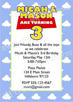 Toy Story Birthday Party Printable Invitation  Toy by 5Mcreations, $10.00