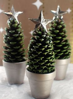 Opt For Micro Trees- ELLEDecor.com Pine Cone Christmas Tree, Noel Christmas, Christmas Crafts For Kids, Christmas Projects, Holiday Crafts, Xmas Trees, Cheap Christmas, Christmas Ideas, Pine Cone Tree