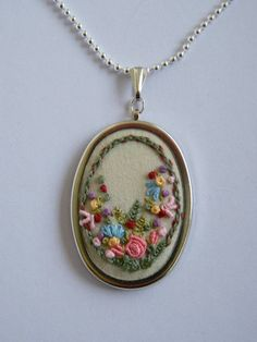 Embroidered necklace pendant flower garden by ThePetiteArmoire, $45.00 by latonya