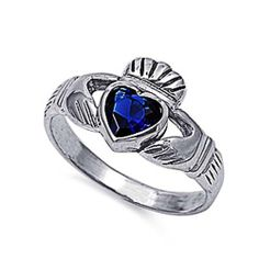 Rhodium Plated Sterling Silver Wedding  Engagement Ring Blue Sapphire CZ Claddagh Ring 12MM ( Size 4 to 10) -