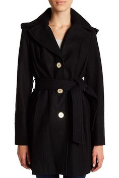Image of MICHAEL Michael Kors Hooded Wool Blend Coat (Petite)