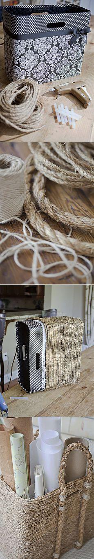 Стильные коробки из бечёвки - почти шэбби-шик | Ladiesvenue