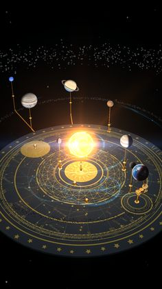 Orrery room (astronomical observatory instrument), with moon phases and astrological figures on the floor. Star tretrahdron in the center...