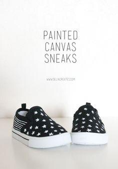 DIY Painted Canvas Sneakers - delia creates