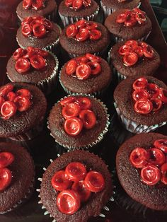 Made red velvet cupcakes and added some Red Blood Cells for Nursing School-Leticia Holguin