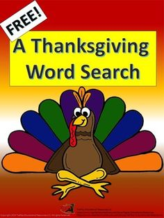 FREE A Thanksgiving Word Search & Key Printable Worsheets from TiePlay Educational Resources LLC on TeachersNotebook.com -  - Free A Thanksgiving Word Search allows students to find key words specific to the Thanksgiving holiday. This word search is targeted for upper elementary and middle school students.
