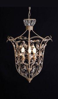 French Provincial Crystal Leaf Lantern Rust