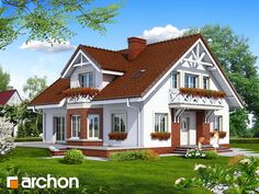 Projekt domu Dom w helikoniach (P) Village House Design, Village Houses, House In The Woods, Home Fashion, My Dream Home, Home Interior Design, Bungalow, Beautiful Homes, Building A House