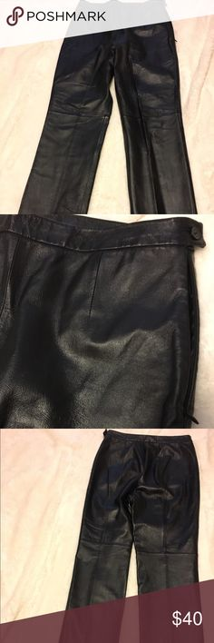 Black, mid rise, bootcut women's leather pants This is a 100% black leather bootcut, mid rise pants, excellent condition and very in style. clio Pants Trousers