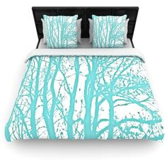 Mint Trees by Monika Strigel Light Duvet Cover Size: King/California... ($230) ❤ liked on Polyvore featuring home, bed & bath, bedding, duvet covers, bed, home decor, bedroom, king bedding, western king bedding y western king size bedding