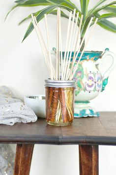 Filled with cinnamon sticks and infused teabags, these scented sticks look pretty while wafting good stuff. It's like a homemade flan is always baking in your living room. Image Source: POPSUGAR Photography / Sarah Lipoff