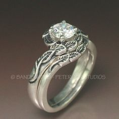 gold halo with moissanite wedding ring set your by bandscapes - Wiccan Wedding Rings