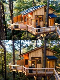 The exterior of the treehouse is made of red cedar wood while the interior is finished in pine wood. In addition, the exterior decking is cut from old growth float logs extracted from the Lake Union in Seattle.