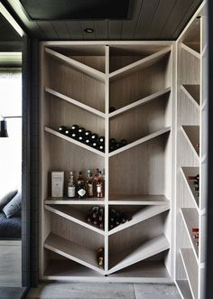 Wine Storage - The black house. A contemporary take on a traditional farm house from Canny Architecture set on the rolling hills of Flinders on the Mornington Peninsula. Wine Cabinets, Kitchen Cabinets, Green Cabinets, Wooden Cabinets, Rack Design, Storage Design, Kitchen Pantry, Kitchen Dining, Kitchen Wine Racks
