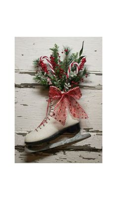 Christmas Ice Skate - Christmas wreath -Door decor -  vintage - Cottage - French Market - Winter skate - Country. $44.00, via Etsy.