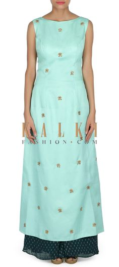 Buy this Mint green straight suit adorn in embroidered butti only on Kalki