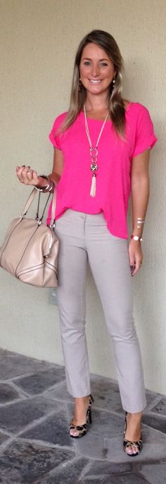 Love this entire outfit!  I have a pink blouse just like this, the necklace is unique, the pants fit well, and the shoes are fabulous!