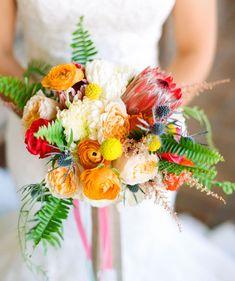 Bright + colorful protea bouquet