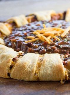 Add this to your Game Day spread and score some major points! Ready in 30 minutes, you'll feed the hungry crowd FAST! Crescent Ring, Crescent Rolls, Croissant, Chili Cheese Dogs, Hot Dog Recipes, Fall Recipes, Chicken Recipes, Dinner Recipes, Pillsbury Recipes