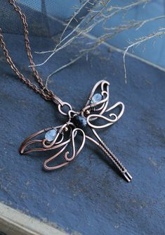 Jewelry Making Easy Custom order for Sandra Copper pendant Dragonfly Wire Pendant, Wire Wrapped Pendant, Wire Wrapped Jewelry, Wire Crafts, Jewelry Crafts, Handmade Jewelry, Dragonfly Jewelry, Copper Jewelry, Wire Jewelry Designs