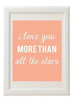 Nursery Print Decor Art - I Love You More Than Stars - 8x10 - Peach - Coral - Pink - Baby Girl