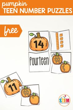These pumpkin teen number puzzles are a great way to get your early learners practicing teen numbers and strengthening their math skills. A great addition to your Halloween activities or as part of your Fall lesson plans. The best part? These math activities are low prep which is ideal for early childhood educators! #prek #kindergarten #gradeone First Grade Sight Words, First Grade Writing, Teaching First Grade, First Grade Classroom, First Grade Math, Teaching Kids, Math Games For Kids, Fun Math Activities, Math Literacy